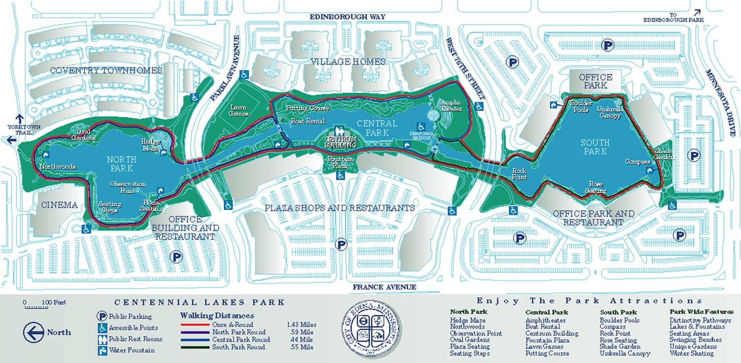 Centennial Lakes Park Large Map