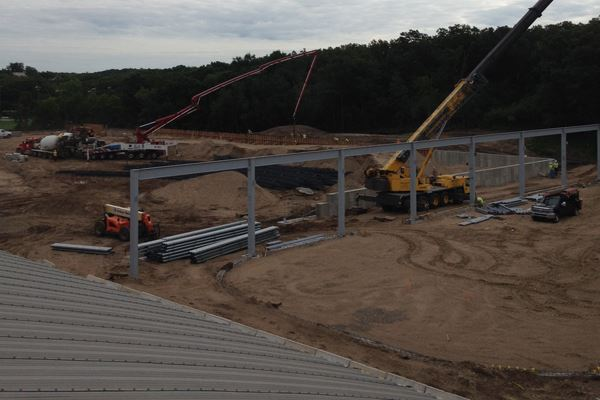 The steel for the outdoor rink is being set