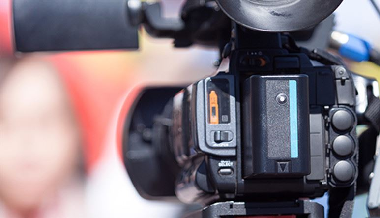 Behind view of a camcorder