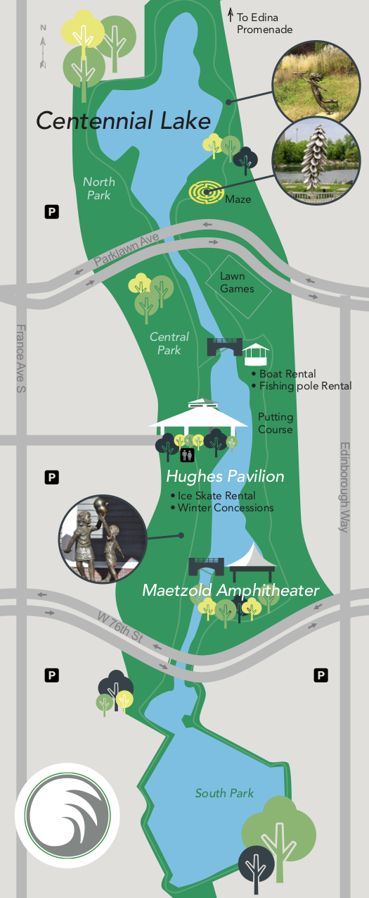 Map showing layout of Centennial Lakes Park