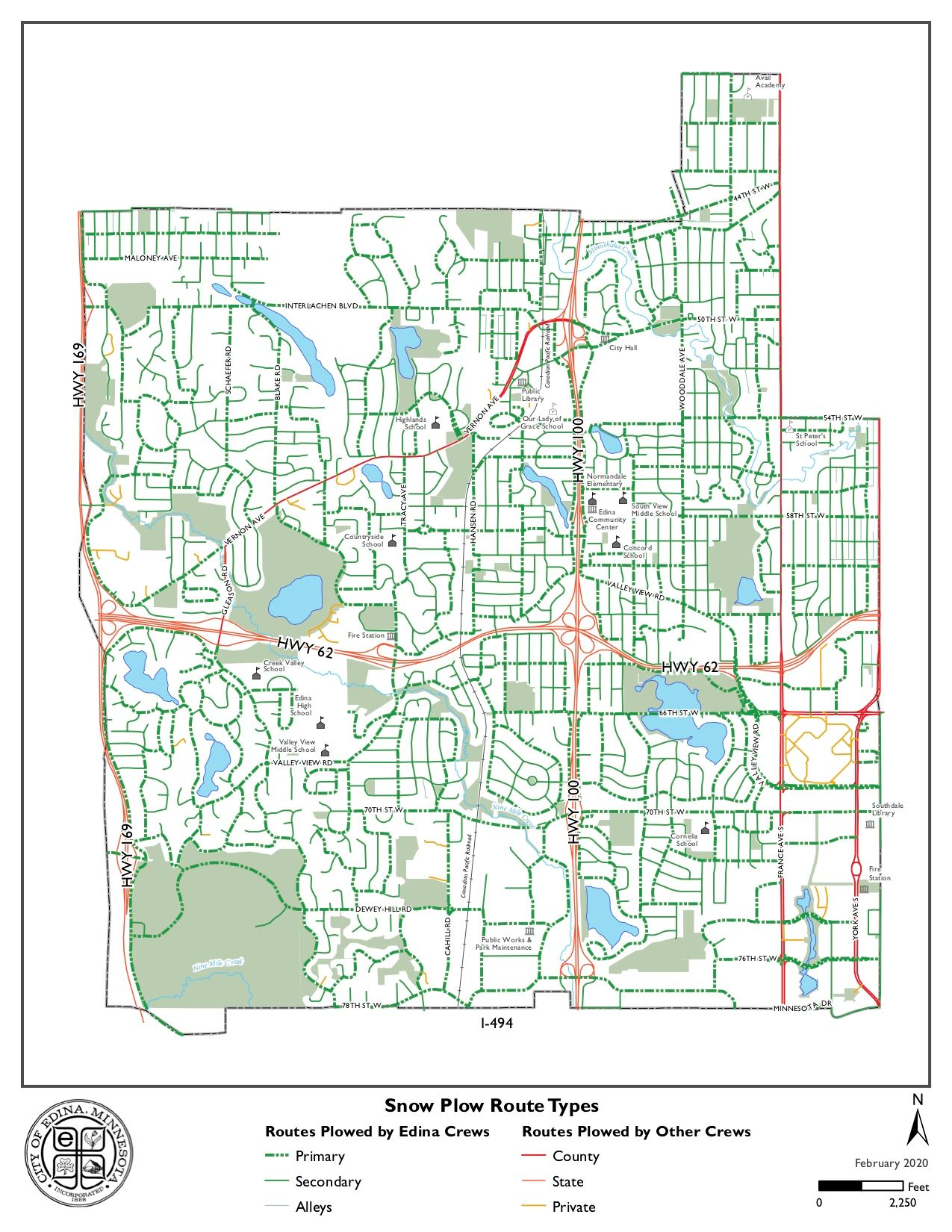 Edina Snow Plow Routes Map (PDF)