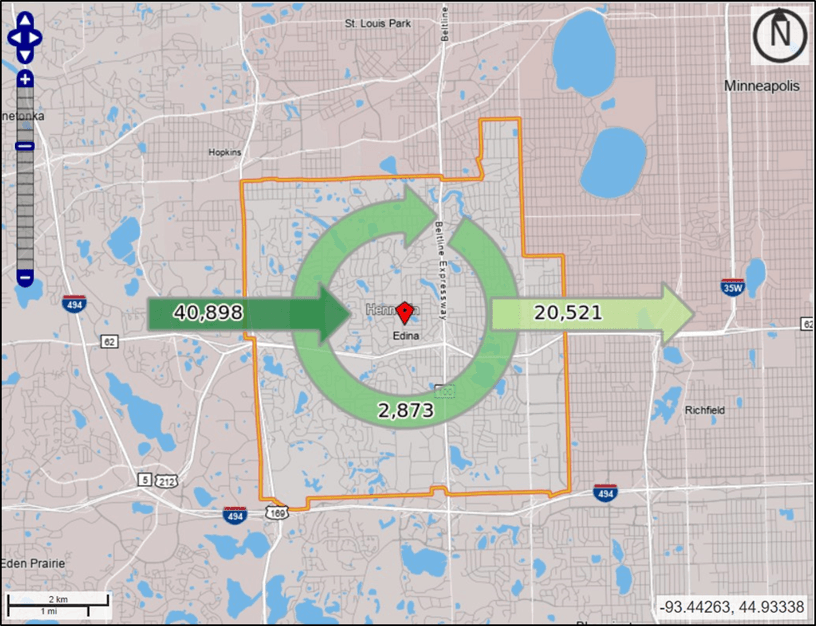 Map showing more people commute into Edina for work than commute from Edina to work elsewhere