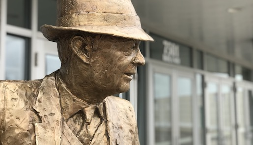 Detail photo of head of Coach Ike statue