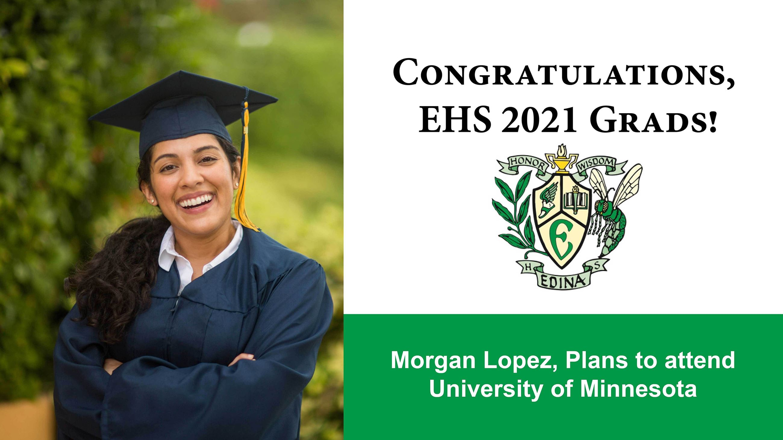Example photo and congratulatory message to Class of 2020 graduate