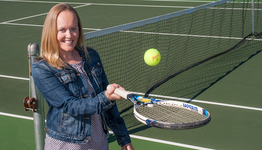 Jaime Gaard Chapman on a tennis court