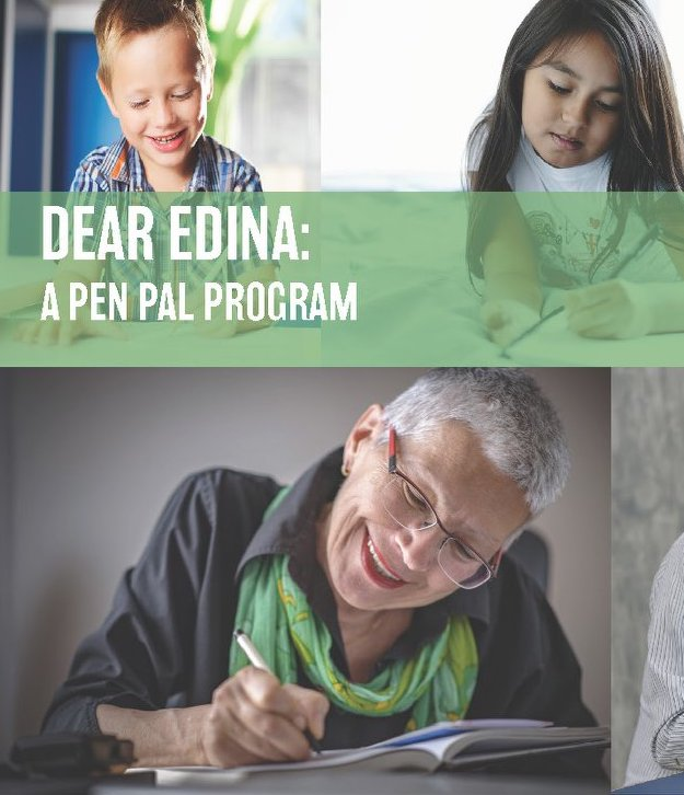 Photos of children and seniors writing letters for pen pal program