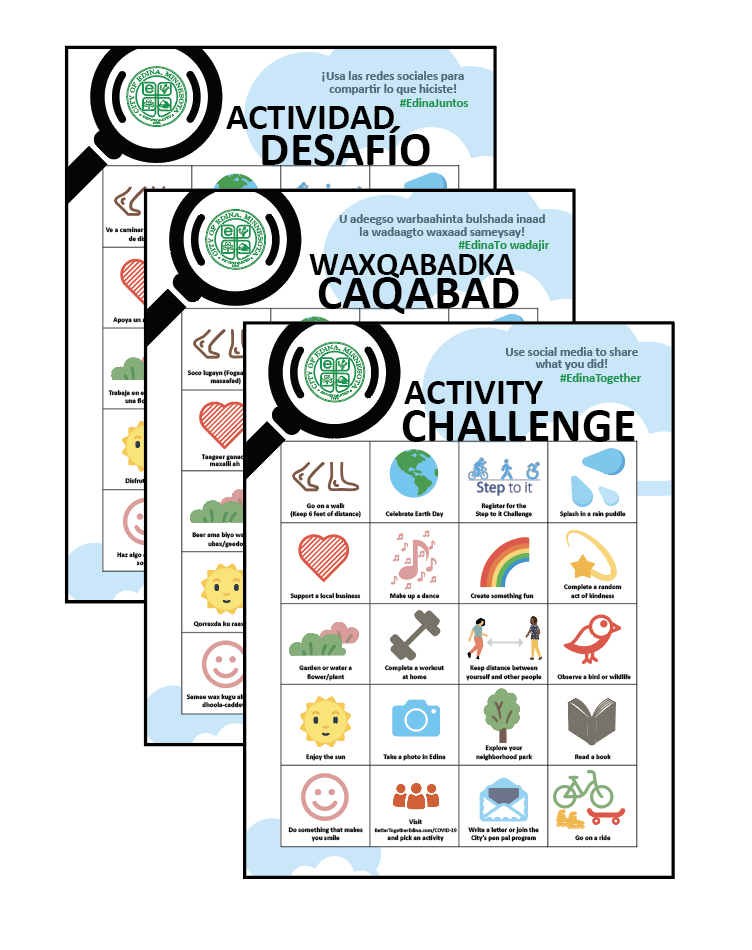 Images of Edina Activity Challenge game boards in 3 languages for promotion