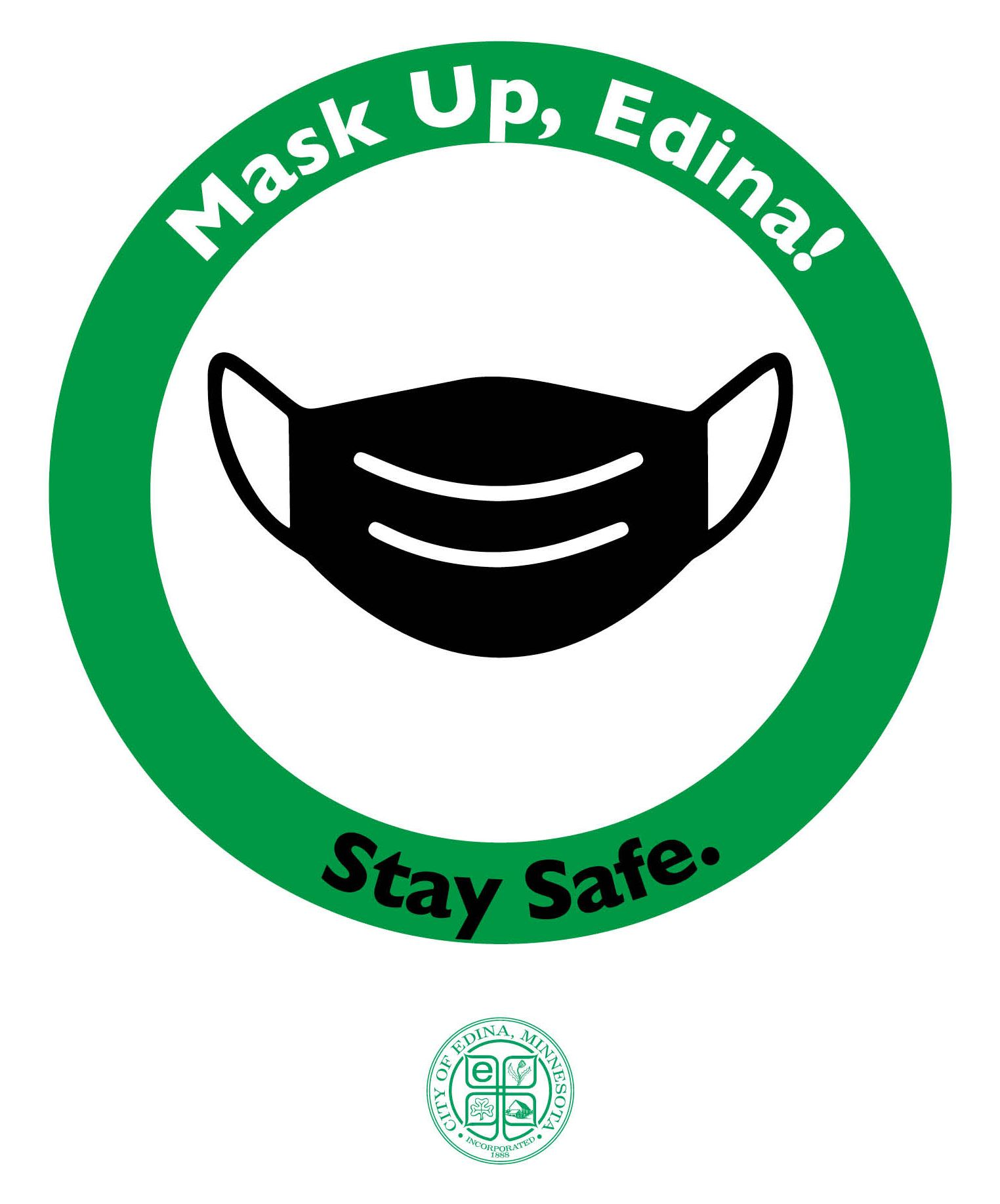 Mask Up Edina Logo - Green